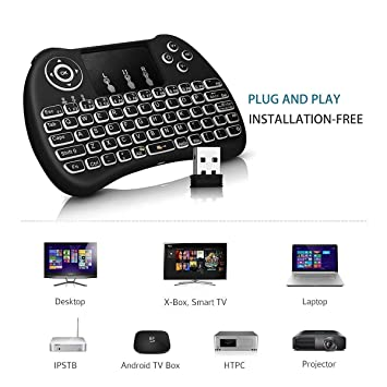 Techno Buzz Deal Mini Wireless Keyboard with Touchpad/Backlit Light and  Mouse -Combo for Android/iOS Devices (Black)