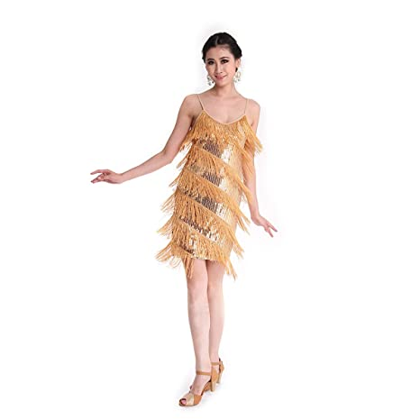 Danza Vestido CoastaCloud Mujer Concurso De Danza Vestido Tassle Latín Moderno Discoteca Dorado: Amazon.es: Deportes y aire libre