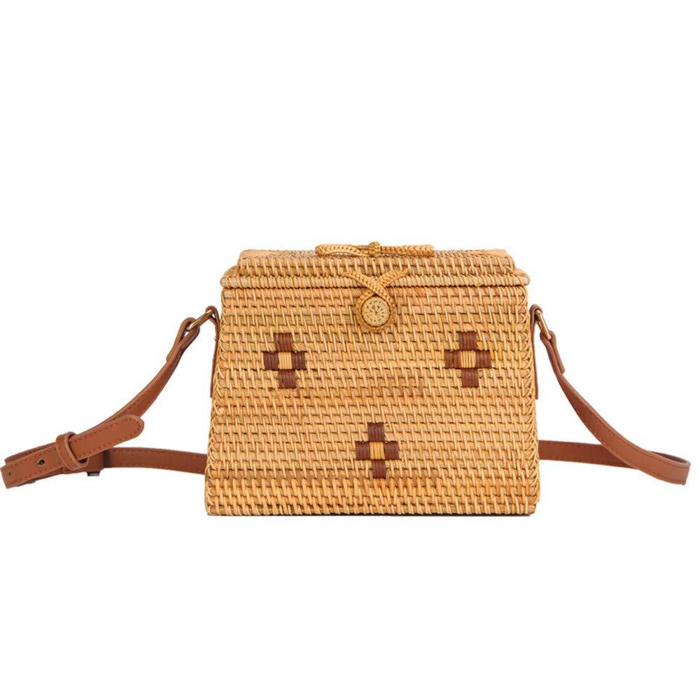 XFRJYKJ-Womens Handbag Fashion Rattan Trapezoidal Sloping Beach Bag