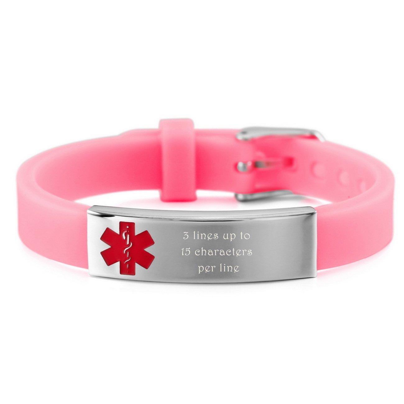 MeMeDIY Stainless Steel Rubber Bracelet Bangle Cuff Medical Alert ID Adjustable - Customized Engraving ca3020164-2