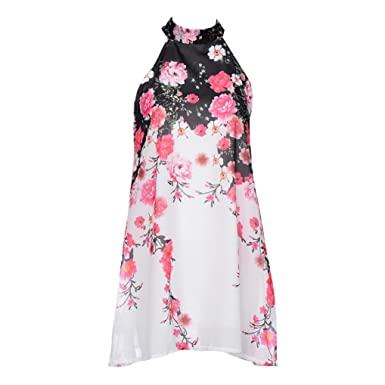 d46fe30c1b5 Lookatool Dress, Summer Short Dresses Casual Womens Round Neck Sleeveless  Dres: Amazon.co.uk: Clothing