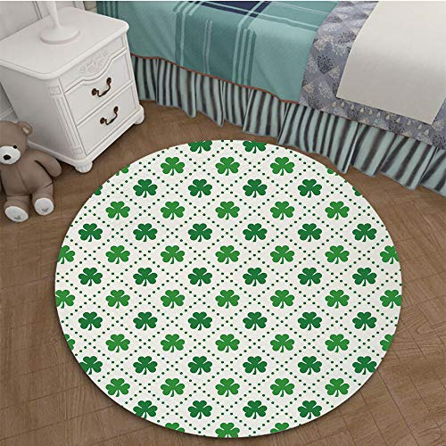 (Bedroom Area Rugs Coffee Table Floor Mat Tile Floor Cover Indoor Outdoor Mat 2.62 Ft Diameter Irish,Four Leaf Shamrock Clover Flowers with Dotted Dashed Lines National Culture Symbol Decorative,Green)