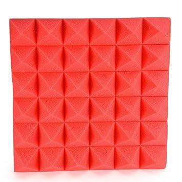 USAYB 1Pcs Espuma De Aislamiento Acústico Espuma Acústica Detención De Sonido Estudio Estudio Absorción Cuña Azulejos Espuma De Poliuretano 30X30X5Cm-Rojo: ...