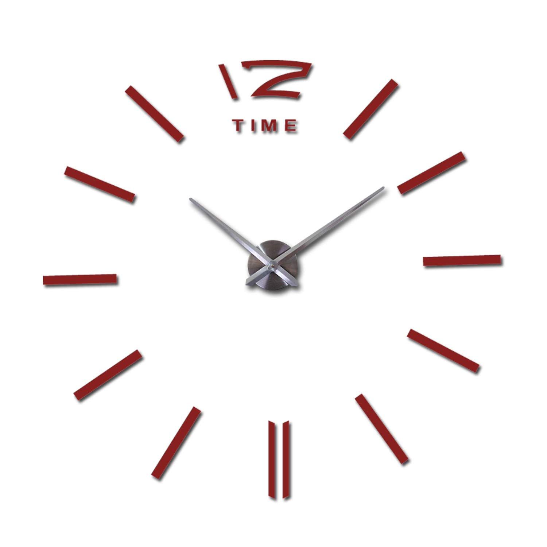Amazon.com: Batop 3D Real Big Wall Clock Rushed Mirror Wall Sticker - DIY Living Room Home Decor - Fashion Watches Arrival Quartz Wall Clocks (Red) ...