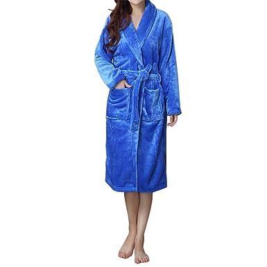 aac28fc061 LAPAYA Women s Long Kimono Robe Soft Fuzzy Shawl Collar Warm Plush Fleece  Bathrobe at Amazon Women s Clothing store