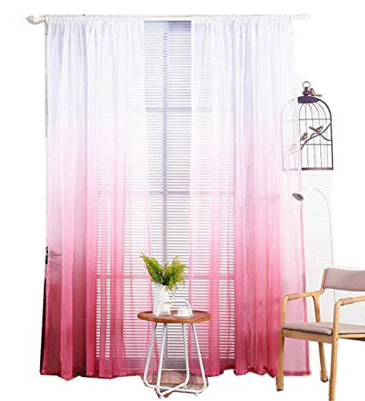 TIYANA Gradient Red Sheer Curtain Panel 63 inch Long for Living Room Ombre  Red Pink White Tulle Curtain Custom Simple Window Decor Rod Pocket Top, 1  ...