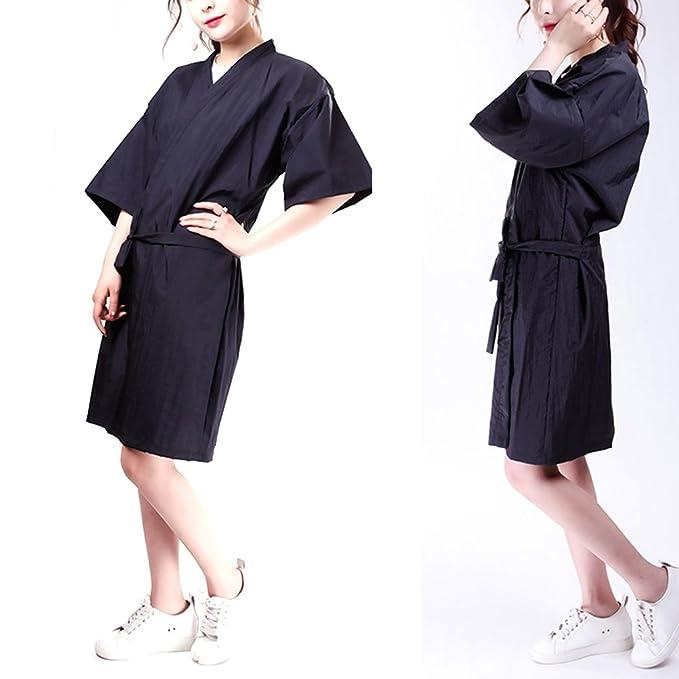 Frcolor Vestidos de peluquería para salón de peluquería estilo Kimono, negro: Amazon.es: Belleza