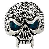 Serpentine Demon Skull Sterling Silver Aqua Blue Cubic Zirconia Eyes