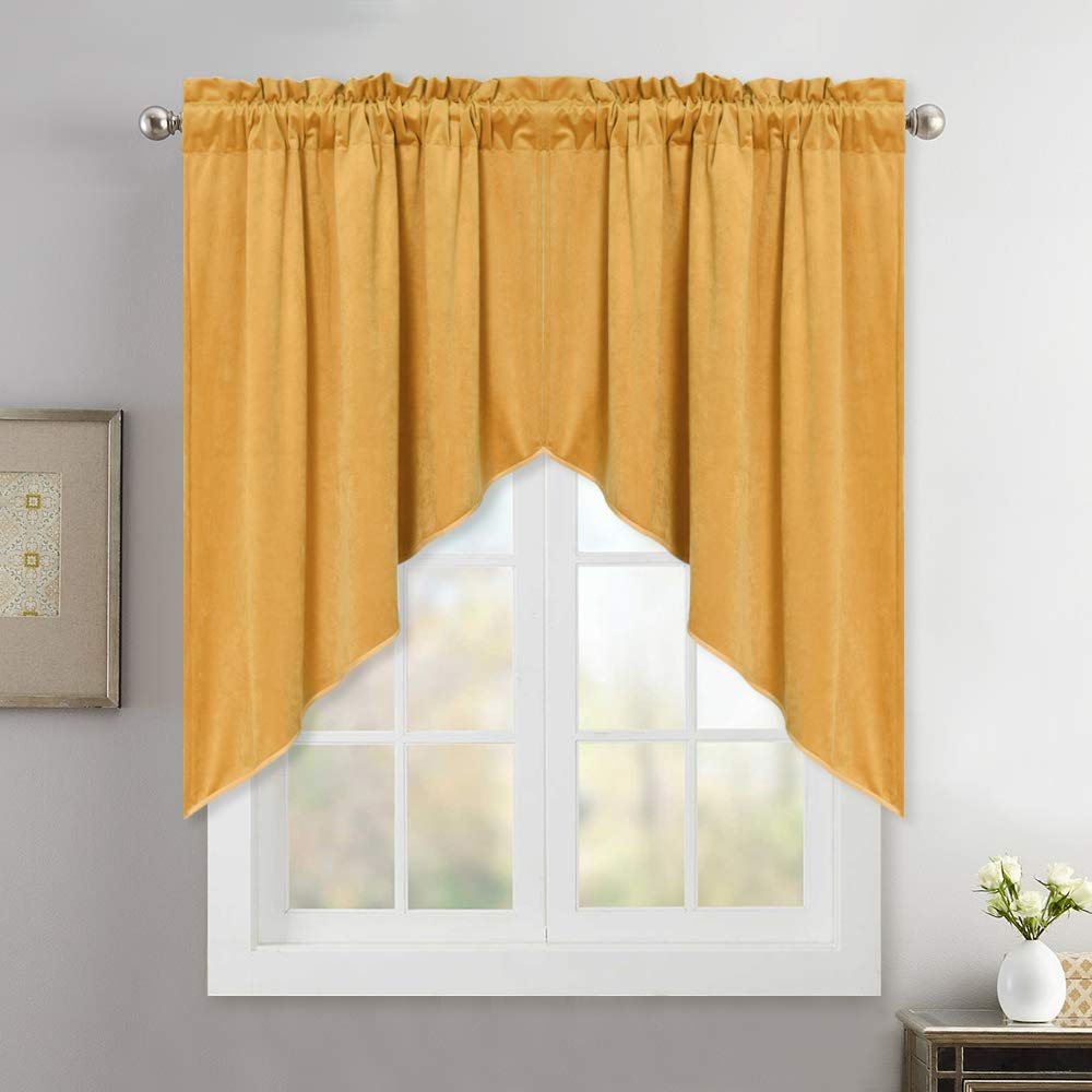 orange gold Swags 36 L Bedroom Blackout Velvet Curtain Panels - 96 Inch Thick Soft Velvet Drapes with Rod Pocket & Back Tab Window Covering for Front Sliding Door, Peacock bluee, W52 x L96 Per Panel, 2 Pcs