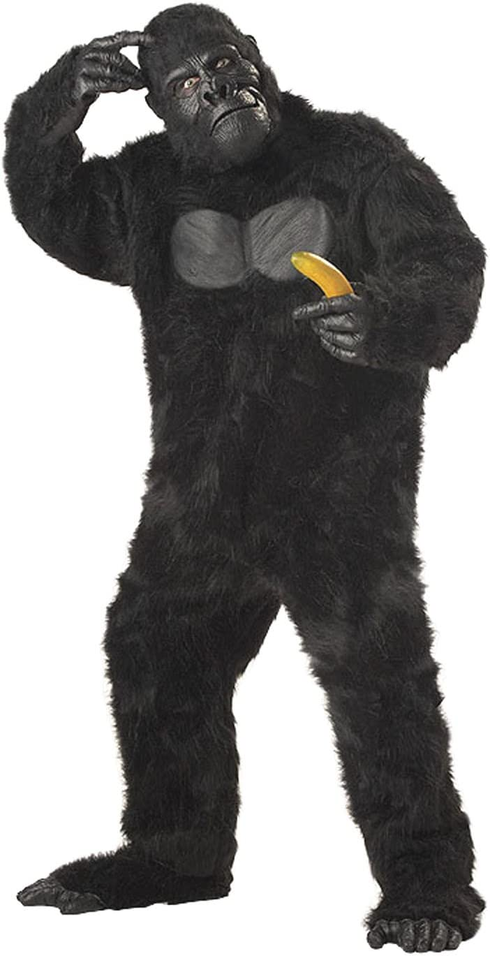 Adult Furry Gorilla Ape Suit Monkey Fancy Dress Costume Mens King Kong Stag