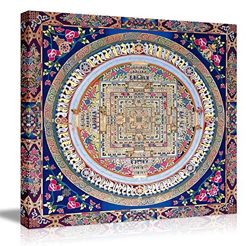 Picabala Mandala Baroque Canvas Prints Wall Art Vintage French Country Floral No Frame Picture Giclee Printed Modern Abstract Religion Theme Painting Home Office Decor-12 x12(No Frame)