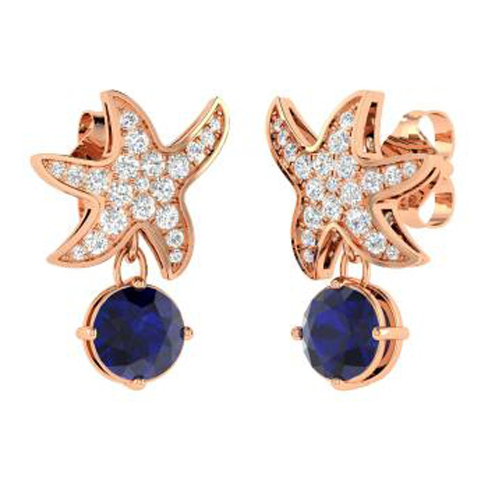DTJEWELS Starfish Drop Earrings 1.59 Ct Round Cut Sapphire /& Sim Diamond In Solid 14K Gold Plated 925
