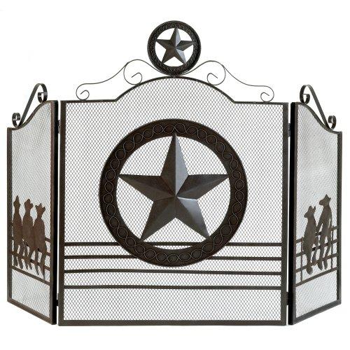 Aw Lone Star Folk Art Texas Western Fireplace Screen w/Metal cutouts and Rustic Weathered Finish