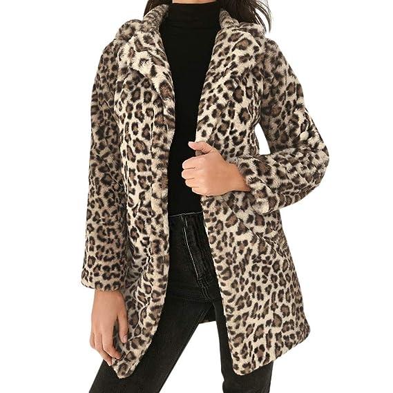 MEIbax Abrigos de Mujer Invierno Leopardo de Las Mujeres Invierno Sexy cálido Abrigo de Piel sintética Chaqueta de Abrigo Outwear Abrigo: Amazon.es: Ropa y ...