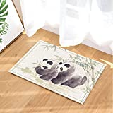 GoHeBe Animal Decor Panda Bear Traditional Chinese Painting Bath Rugs Non-Slip Doormat Floor Entryways Indoor Front Door Mat Kids Bath Mat 15.7x23.6in Bathroom Accessories