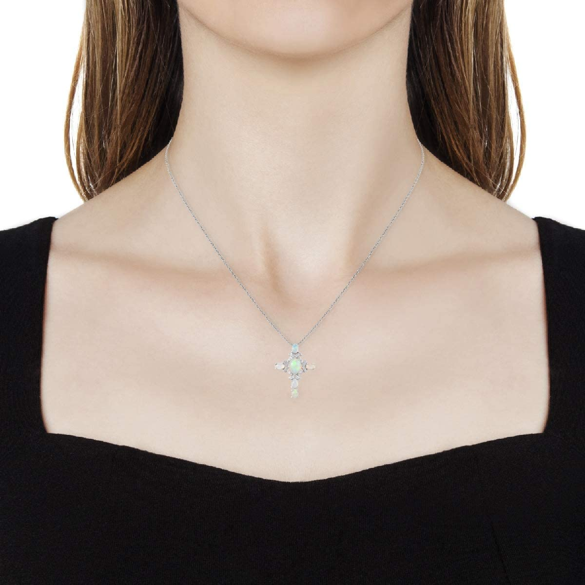 Welo Opal Cubic Zirconia CZ Pendant Necklace 20 Platinum Plated 925 Sterling Silver Jewelry for Women