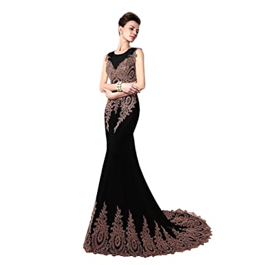 Wancy Womens Sleeveless Embroidery Lace Formal Long Mermaid Evening Prom Dress Black 2