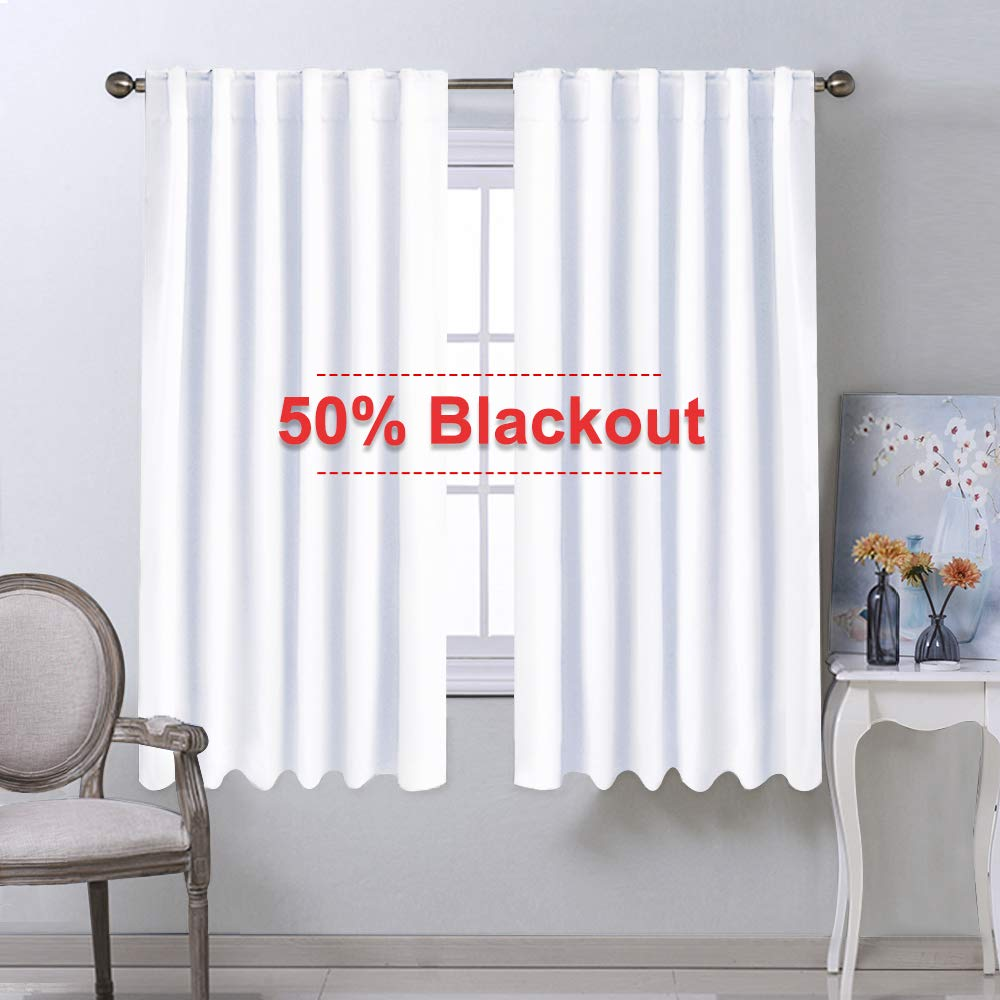 NICETOWM Window Treatment Curtain Panels - (White Color) W52 x L63, Two Pieces, Semi Blackout Window Treatment Drape Panel for Kids Bedroom