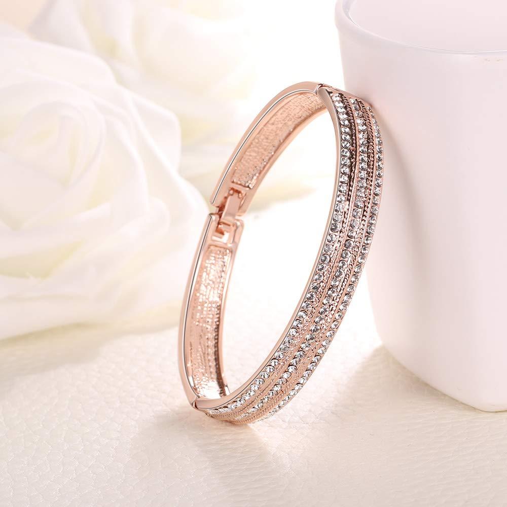 Venianus Rose Gold-Plated Creative Design Elegant Bangle Bracelets for Women Including a Luxury Jewelry Gift Box