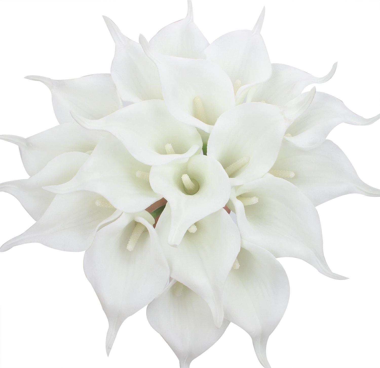 Duovlo 20pcs Calla Lily Bridal Wedding Bouquet Lataex Real Touch Artificial Flower Home Party Decor (Black)