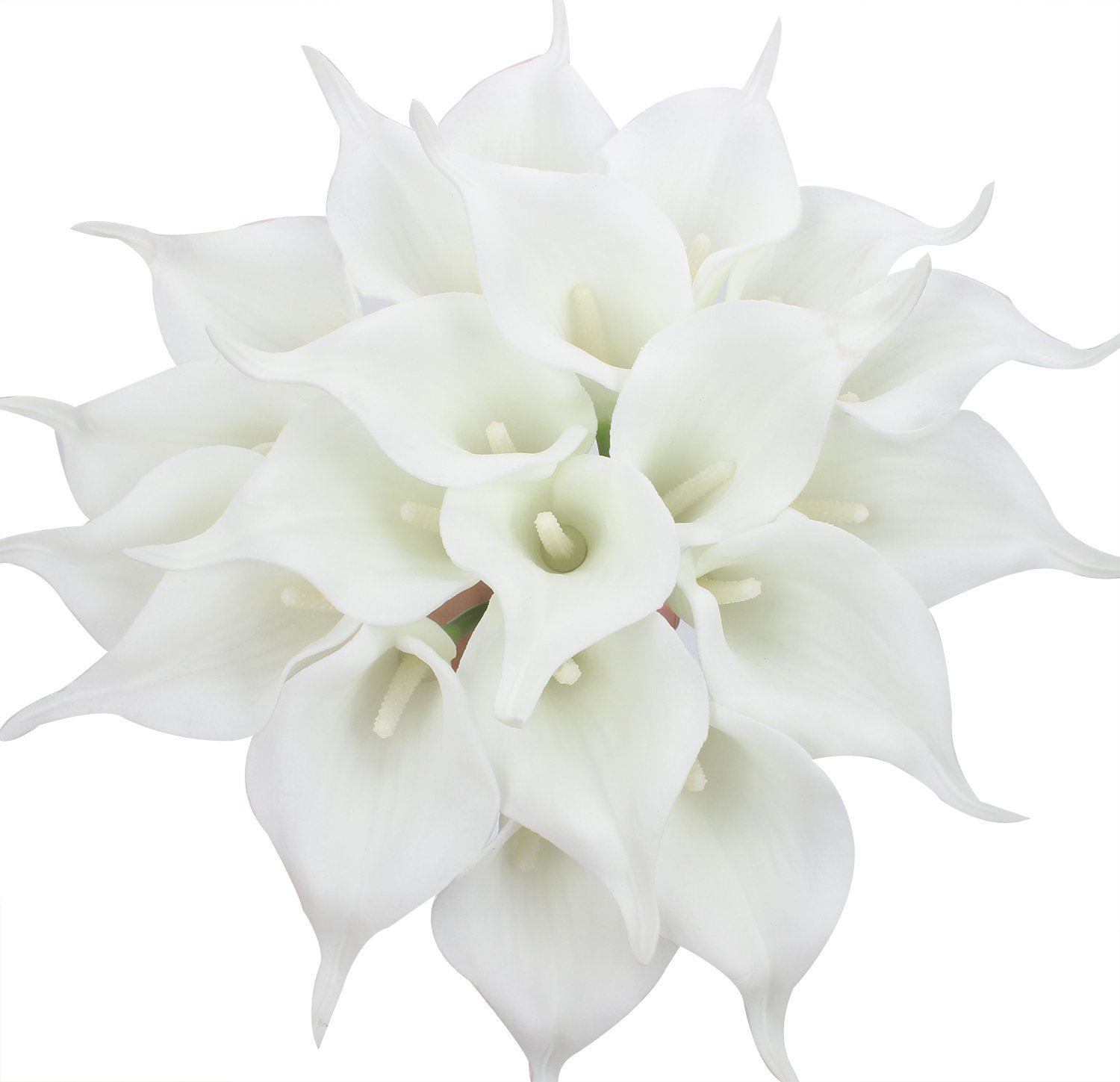 Duovlo 20pcs Calla Lily Bridal Wedding Bouquet Lataex Real Touch Artificial Flower Home Party Decor (Pure White)