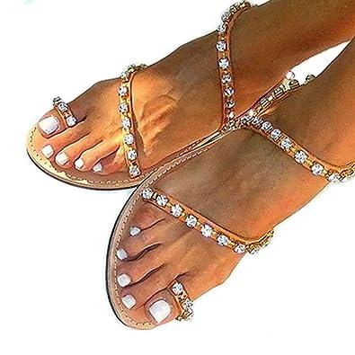 329e2ec17 Hinyyrin Women s Brown Bling Rhinestone Slides Flat Sandals Size 6