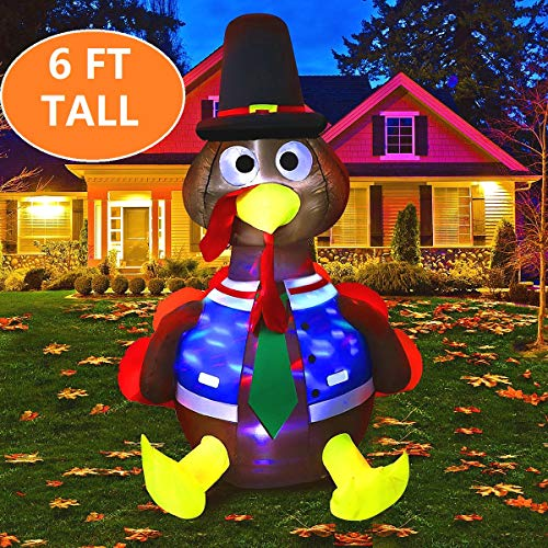 MAOYUE 6ft Inflatable Turkey Thanksgiving Inflatable Outdoor Decorations Blow up Turkey Built-in Rotating LED Colorful Lights with Tethers, Stakes, Thanksgiving Decorations for Outdoor, Yard,