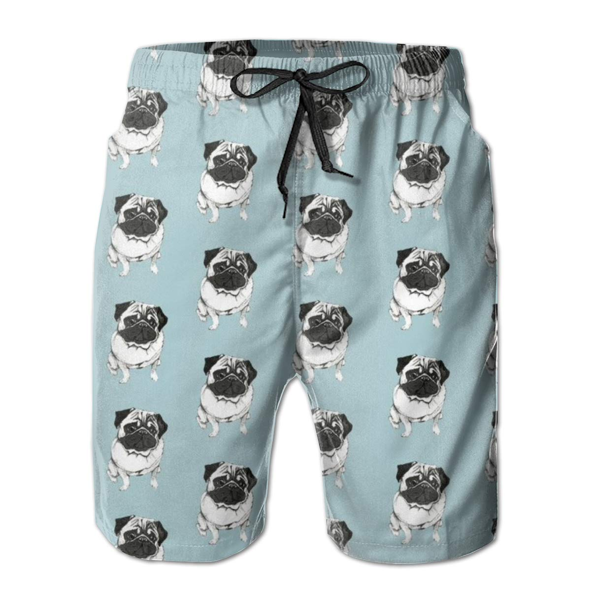 FASUWAVE Mens Swim Trunks Pug Pattern Quick Dry Beach Board Shorts with Mesh Lining