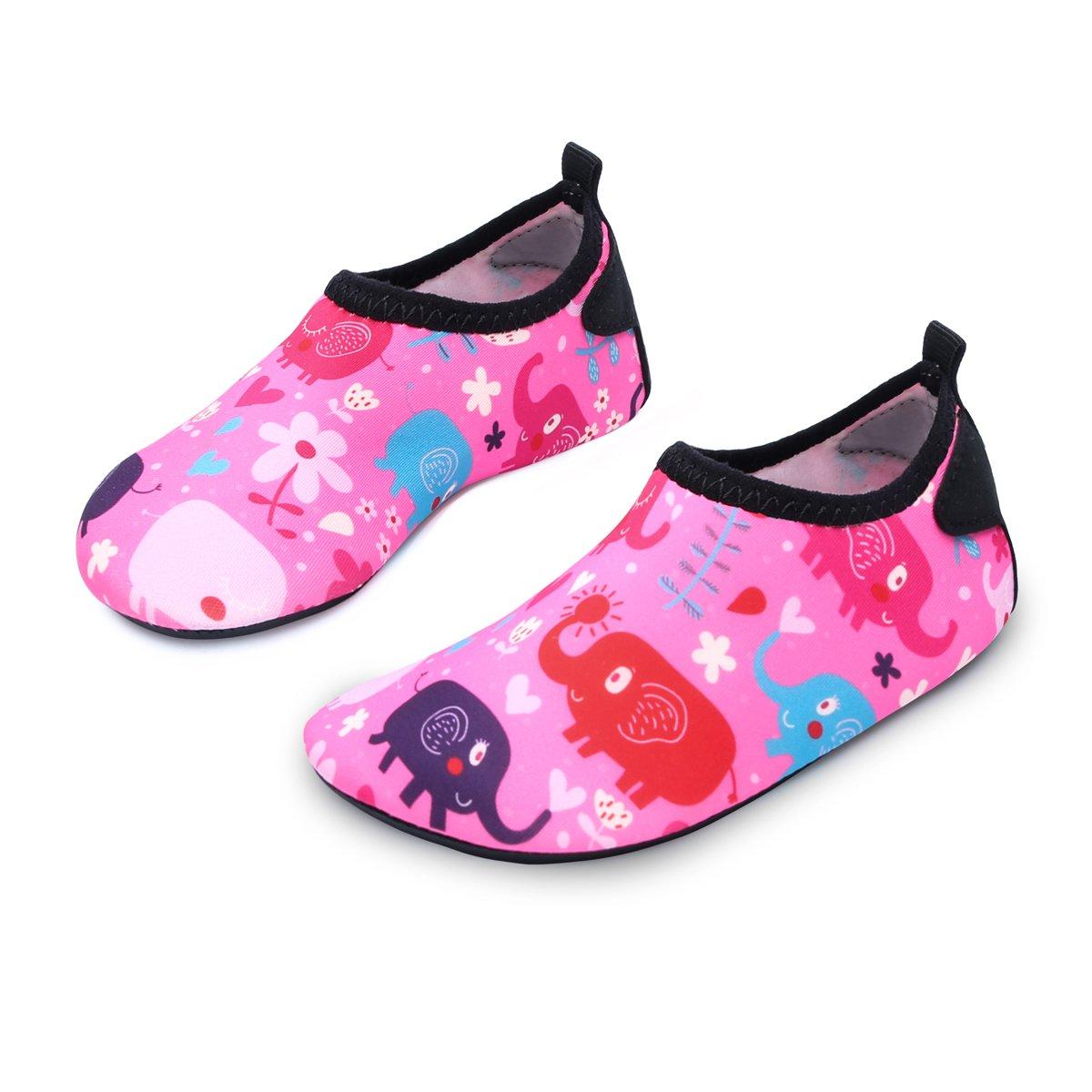 L-RUN Kids Water Shoes Summer Swim Shoes Outdoor Sneaker Pink_red 9.5-10=EU26-27