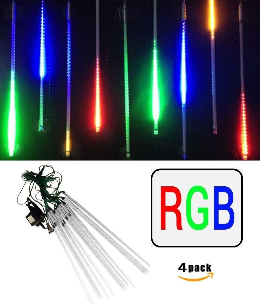 4-Pack LEDJump Linkable 20 Inch Long RGB Multi-Colors Snowfall Meteor Shower Lights 16FT Wire Extension Set of 12 waterproof transformer … by LEDJUMP