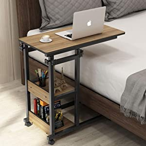 Tribesigns Snack Side Table, Mobile End Table Height Adjustable Bedside Table Laptop Rolling Cart C Shaped TV Tray with Storage Shelves for Sofa Couch
