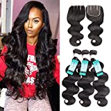 UDU Hair Brazilian Body wave with Closure 3 Bundles Brazilian Virgin Hair with 3 Part Lace Closure 100% Unprocessed Human Hair Bundles Review