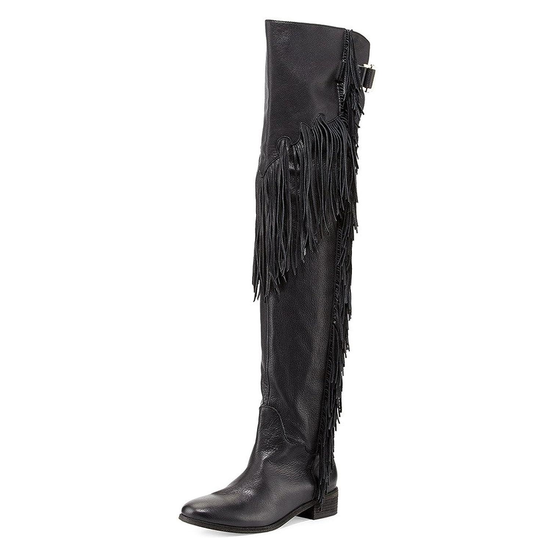 Women's Black Over-the-Knee Low Block Heel Fringe Riding Boots