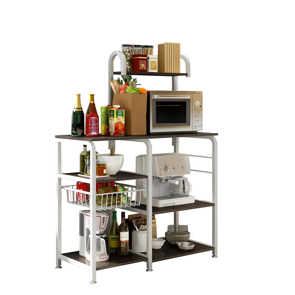 "Anferstore Kitchen Baker's Rack Multifunctional Storage Shelf 35.5"" Microwave Stand 4-Tier+3-Tier Shelf for Spice Rack Floor Shelf Storage Storage Cupboard (Black)"