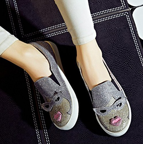 Sfnld Womens Cute Round Toe Cartoon Sequins Platform Slip On Loafers Shoes Pink 8skBVRHHWX