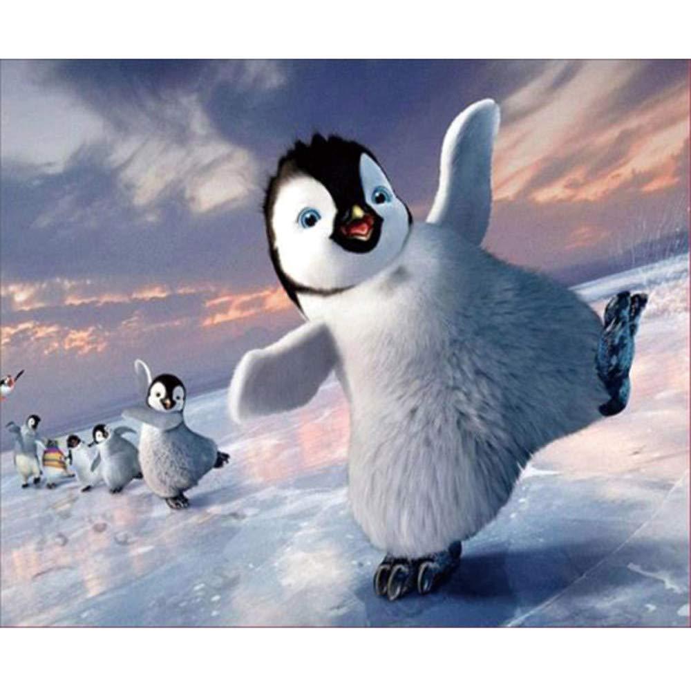 5D Pintura Diamante Pingüino DIY Arte Rhinestone Bordado de punto ...