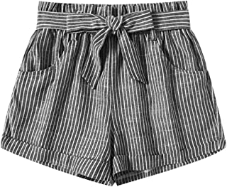 Womens Paper Bag Shorts Cotton Linen Striped Wide Leg Shorts Tie Bow Elastic Waistband Culottes Hot Short Pants Summer Casual Beachwear 2019