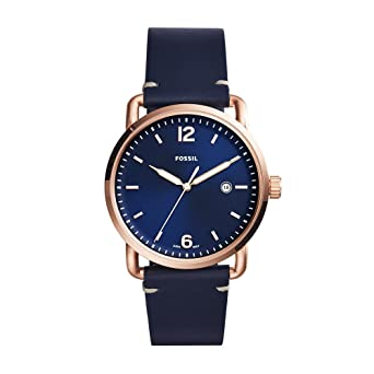 30d57f45f986 Amazon.com  Fossil Men s FS5274 The Commuter Three-Hand Date Blue Leather  Watch  Fossil  Watches