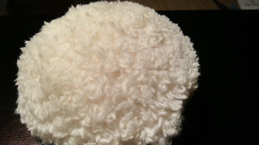 Eiffel Tower Tan Fluffy Fleece Powder Puff for Dusting Powder Large 4 1/2 Inch Diameter