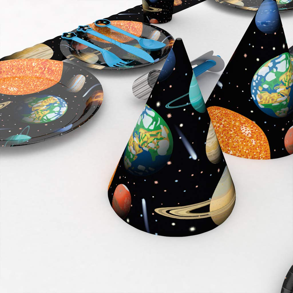 DreamJ Space Disposable Tableware with Space Party Plates Cups Napkins Tablecloth Space Banner More for Astronaut Space Birthday Theme Party Decorations Supplies 66PCS Space Birthday Party Supplies