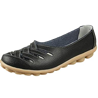 7533977ce02 Mordenmiss Women s Casual Driving Loafer Hollow Flats Silp-on Carving  Moccasins Black 36