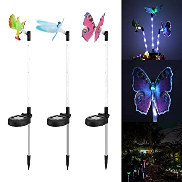 Outdoor Solar Garden Lights   AOZBZ Multi Color Changing LED Solar Lights  With White LED