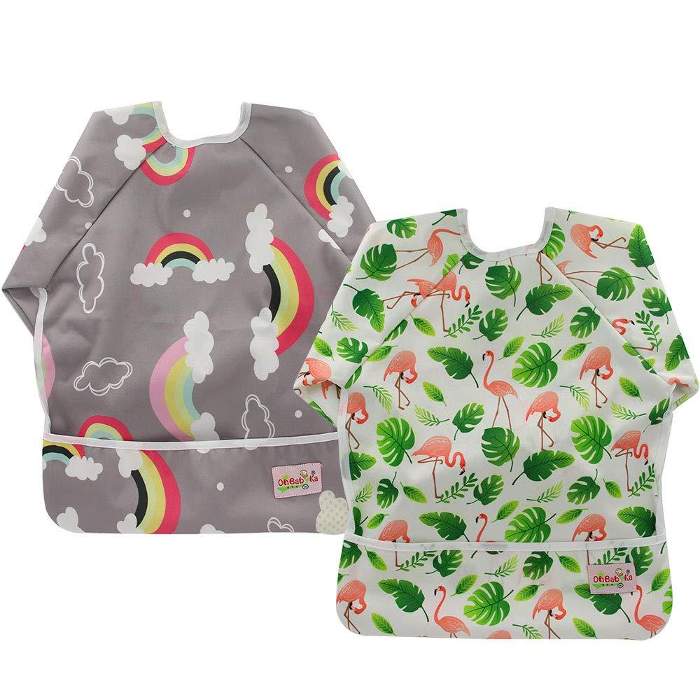 Baby Bibs with Sleeves&Pocket Kids Waterproof Feeding Bibs,6-24 Months