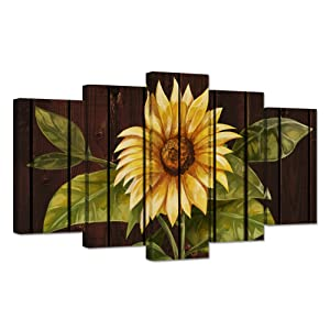 ZingArts 5 Panel Flower Canvas Wall Art Yellow Sunflower Still Life Picture on Vintage Brown Background Print On Canvas Stretched and Framed for Living Room Bedroom Decoration Ready to Hang