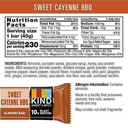 KIND Sweet and Spicy Bars Sweet Cayenne BBQ Gluten Free 10g Plant Protein 16oz 12 Count