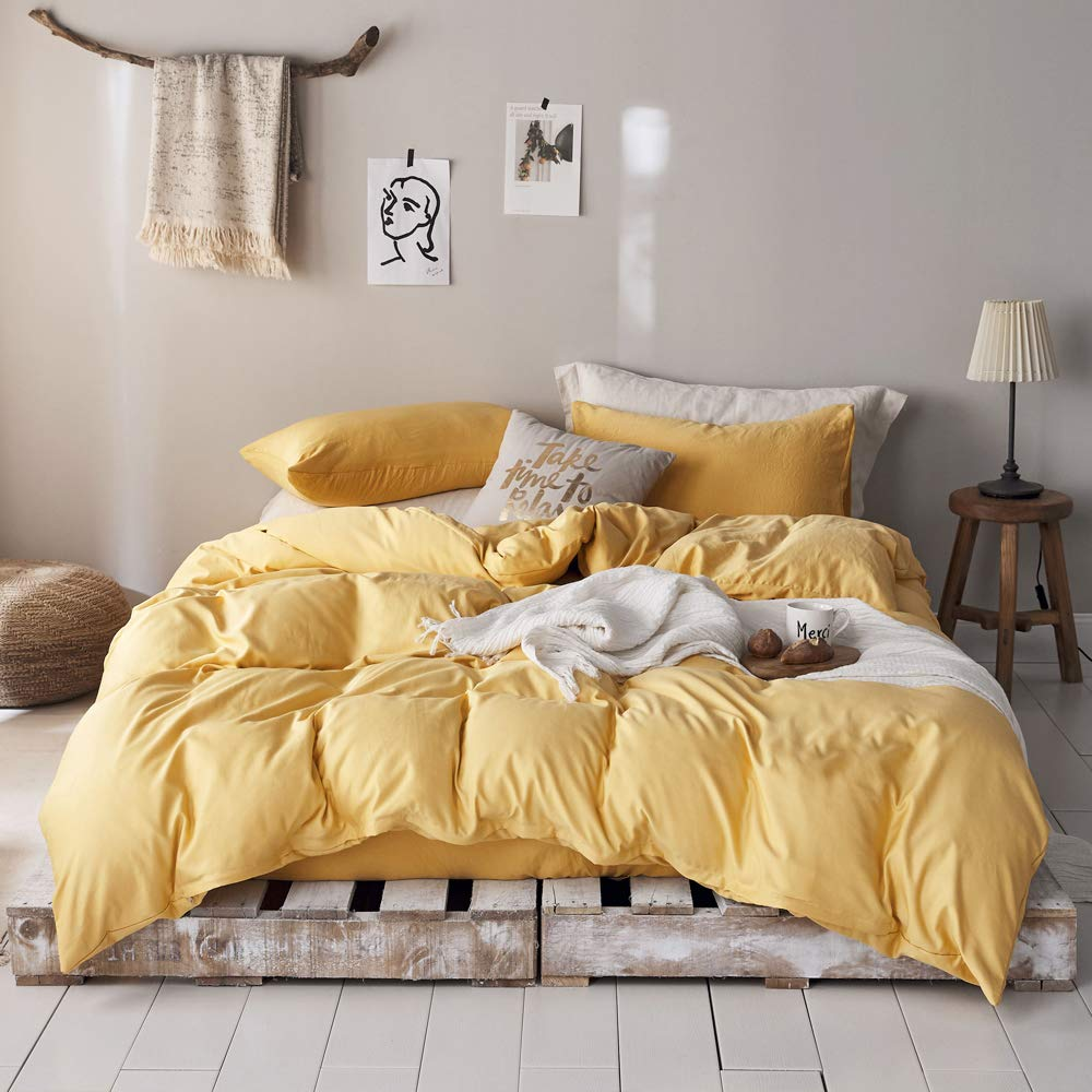 mixinni 3 Pieces Modern Style Duvet Cover Set Solid Color Gold Bedding Cover Set with Zipper Ties for Men and Women (1 Duvet Cover + 2 Pillow Shams),Easy Care,Soft,Durable (Gold,Queen/Full Size)