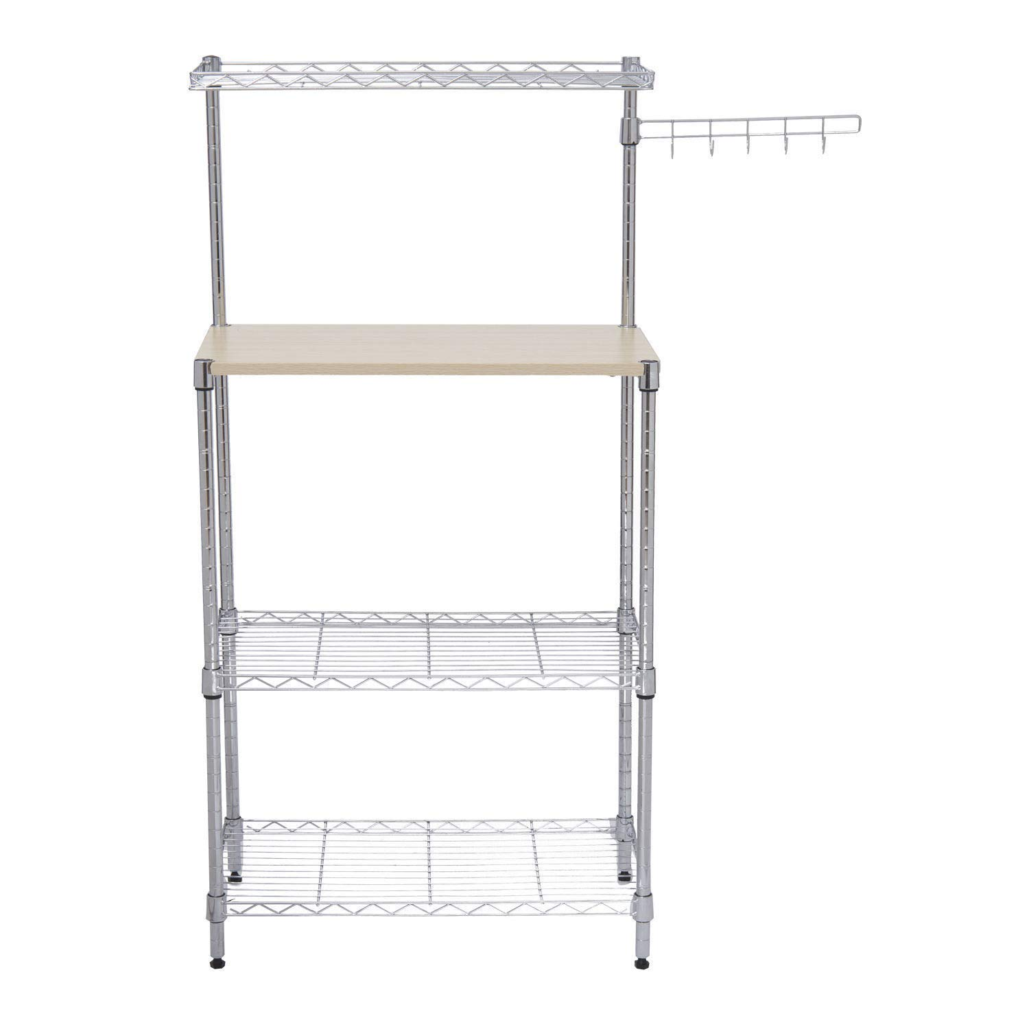 Cirocco 4 Tiers Kitchen Bakers Rack with Cutting Board - Freestanding Tower Rack Storage Shelf - Organizer Shelving Unit - Microwave Oven Rack Stand | Anti Rust Mesh Border Durable for Home Restaurant