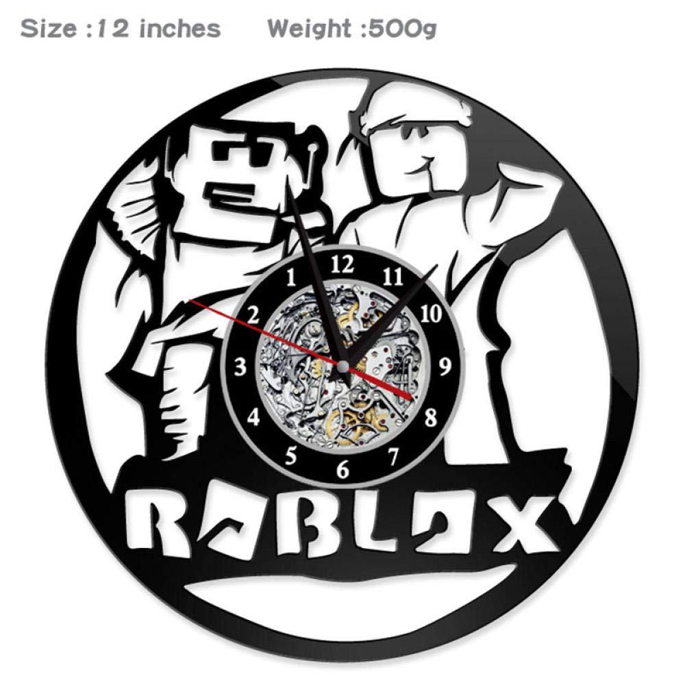 AIYOUBU 12Disco de Vinilo Reloj de Pared Roblox Juego Estilo Relojes para Sala de Estar Vintage silencioso CD Reloj Colgante