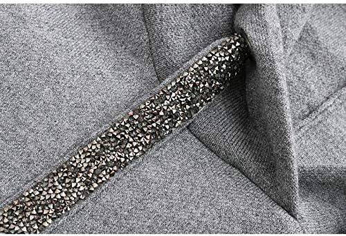 WGYSQCAO Kapuzenpullover für Damen, Harajuku, Baumwolle, solides Seil, mit Kapuze, Metall-Pailletten, reguläre Übergröße