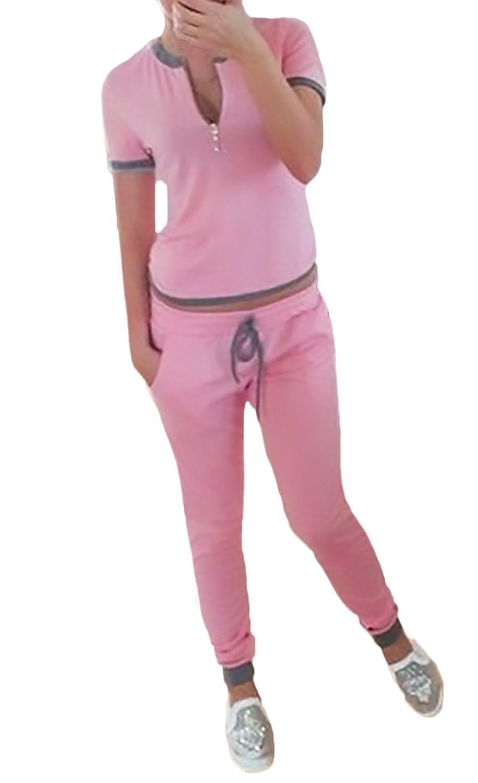 Pantaloni Tute Elegante Da Ginnastica Donna Shirt Manica Corta E Pantaloni Sportivo Due Pezzi Set Giovane Moda Casual Tute Sportive Fitness Tuta BoBoLily